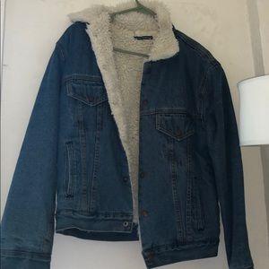 Brandy Melville Jean Fuzzy Jacket